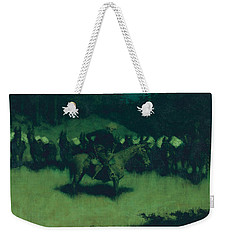 Scare In A Pack Train Weekender Tote Bag by Frederic Remington