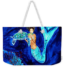 Sea Turtle Kiss Weekender Tote Bag by Leslie Allen