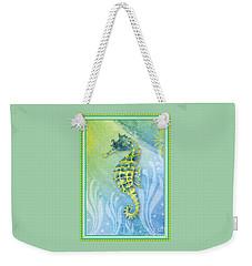 Seahorse Blue Green Weekender Tote Bag by Amy Kirkpatrick