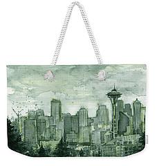 Seattle Skyline Watercolor Space Needle Weekender Tote Bag by Olga Shvartsur