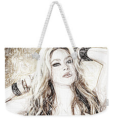 Shakira - Pencil Art Weekender Tote Bag by Raina Shah