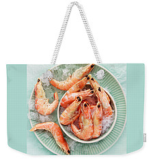 Shrimp On A Plate Weekender Tote Bag by Anfisa Kameneva