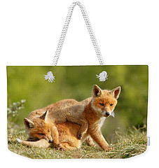 Sibbling Love - Playing Fox Cubs Weekender Tote Bag by Roeselien Raimond