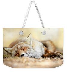 Sleeping Beauty -red Fox In Rest Weekender Tote Bag by Roeselien Raimond