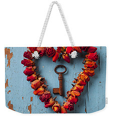 Small Rose Heart Wreath With Key Weekender Tote Bag by Garry Gay