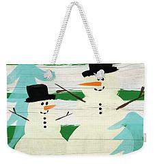 Snowmen With Blue Trees- Art By Linda Woods Weekender Tote Bag by Linda Woods