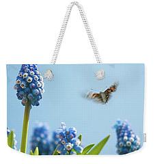 Something In The Air: Peacock Weekender Tote Bag by John Edwards