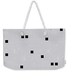 Sophisticated Decor Pattern, Black Square Confetti, Grey Linen Texture Weekender Tote Bag by Tina Lavoie