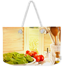 Spaghetti And Tomatoes In Country Kitchen Weekender Tote Bag by Amanda Elwell