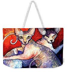 Sphynx Cats Sphinx Family Painting  Weekender Tote Bag by Svetlana Novikova