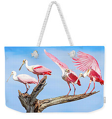 Spoonbill Party Weekender Tote Bag by Mark Andrew Thomas