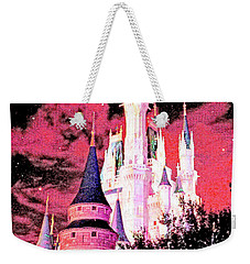 Weekender Tote Bag featuring the digital art Starry Night Cinderella's Castle Walt Disney World by A Gurmankin