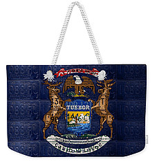 State Of Michigan Flag Recycled Vintage License Plate Art Version 1 Weekender Tote Bag by Design Turnpike
