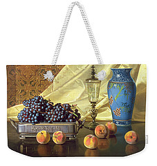 Still Life With Peaches Weekender Tote Bag by Edward Chalmers Leavitt