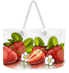Strawberries Weekender Tote Bag by Veronica Minozzi