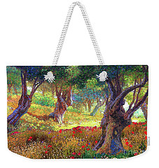 Tranquil Grove Of Poppies And Olive Trees Weekender Tote Bag by Jane Small