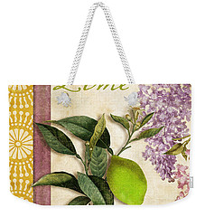 Summer Citrus Lime Weekender Tote Bag by Mindy Sommers