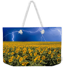 Sunflower Lightning Field  Weekender Tote Bag by James BO  Insogna