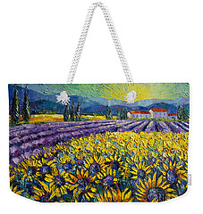 Sunflowers And Lavender Field - The Colors Of Provence Weekender Tote Bag by Mona Edulesco