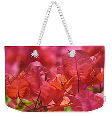Sunlit Pink-orange Bougainvillea Weekender Tote Bag by Rona Black