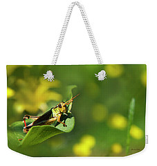 Green Grasshopper Weekender Tote Bag by Christina Rollo
