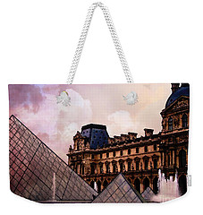 Surreal Louvre Museum Pyramid Watercolor Paintings - Paris Louvre Museum Art Weekender Tote Bag by Kathy Fornal
