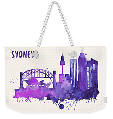 Sydney Skyline Watercolor Poster - Cityscape Painting Artwork Weekender Tote Bag by Beautify My Walls
