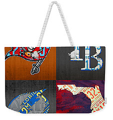 Tampa Bay Sports Fan Recycled Vintage Florida License Plate Art Bucs Rays Lightning Plus State Map Weekender Tote Bag by Design Turnpike