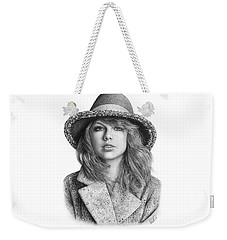 Taylor Swift Portrait Drawing Weekender Tote Bag by Shierly Lin