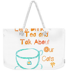 Tea And Cats Square Weekender Tote Bag by Linda Woods