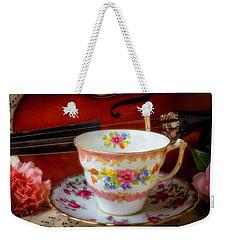 Tea Cup And Violin Weekender Tote Bag by Garry Gay