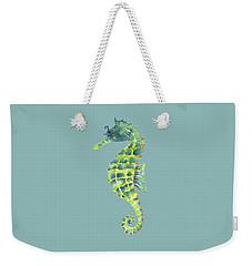 Teal Green Seahorse Weekender Tote Bag by Amy Kirkpatrick
