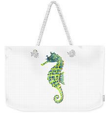 Teal Green Seahorse - Square Weekender Tote Bag by Amy Kirkpatrick