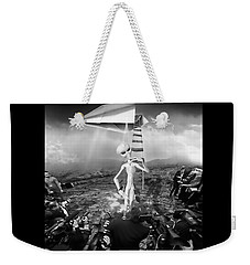 The Arrival Black And White Weekender Tote Bag by Marian Voicu