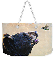The Bear And The Hummingbird Weekender Tote Bag by J W Baker