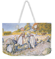 The Children Filled The Buckets And Baskets With Potatoes Weekender Tote Bag by Carl Larsson