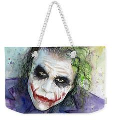The Joker Watercolor Weekender Tote Bag by Olga Shvartsur