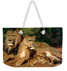 The Lions At Home Weekender Tote Bag by Rosa Bonheur