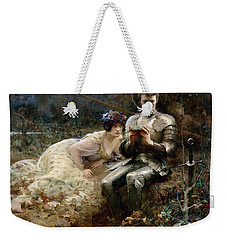 The Temptation Of Sir Percival Weekender Tote Bag by Arthur Hacker
