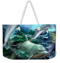 Three Dolphins Weekender Tote Bag by Carol Cavalaris