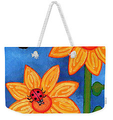 Three Ladybugs And Butterfly Weekender Tote Bag by Genevieve Esson