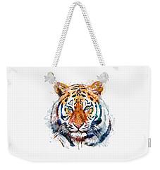 Tiger Head Watercolor Weekender Tote Bag by Marian Voicu