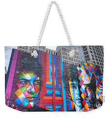 Times They Are A Changing Giant Bob Dylan Mural Minneapolis Cityscape Weekender Tote Bag by Wayne Moran