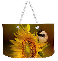 Tiny Surprise Bird Art Weekender Tote Bag by Jai Johnson