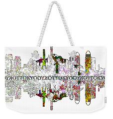 Tokyo Skyline On White Weekender Tote Bag by John Groves