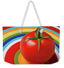 Tomato On Plate With Circles Weekender Tote Bag by Garry Gay