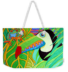 Toucan And Red Eyed Tree Frog Weekender Tote Bag by Nick Gustafson