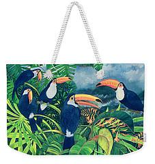 Toucan Talk Weekender Tote Bag by Lisa Graa Jensen