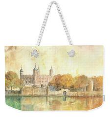 Tower Of London Watercolor Weekender Tote Bag by Juan Bosco
