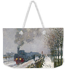 Train In The Snow Or The Locomotive Weekender Tote Bag by Claude Monet